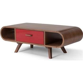 Fonteyn Coffee Table, Walnut and Red (35 x 100cm)