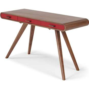 Fonteyn Console Desk, Walnut and Red (75 x 140cm)