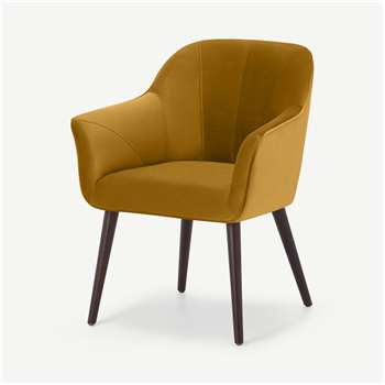 Fordell Carver Dining Chair, Mustard Velvet (H86 x W66 x D62cm)