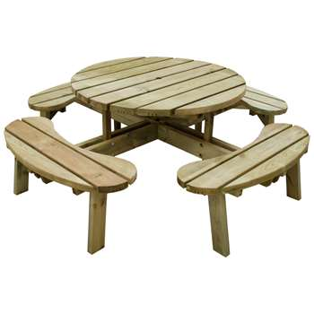 Forest 1.8m Circular Picnic Table (H72 x W207 x D207cm)