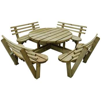 Forest 2.4m Circular Picnic Table with Seat Backs (H82 x W246 x D246cm)
