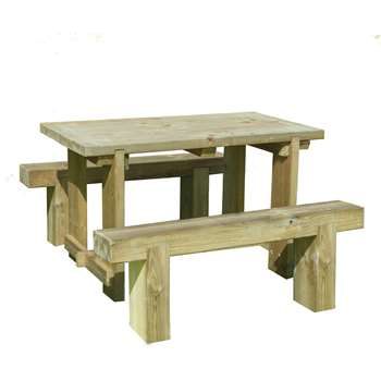Forest Sleeper Benches and Table Set 1.2m (75 x 120cm)