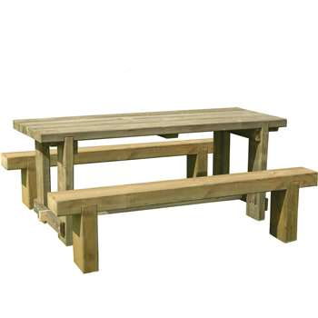 Forest Sleeper Benches and Table Set 1.8m (75 x 180cm)