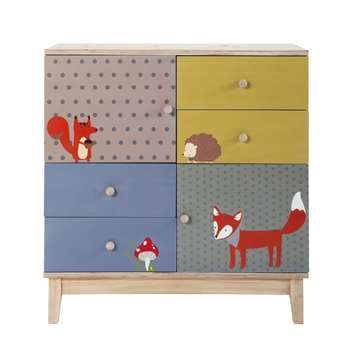 FOREST Wooden multicoloured child's cabinet with 2 doors and 4 drawers (W 86cm)