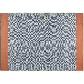 Forio Wool Chevron Flat Weave Rug, Large, Navy Blue & Dark Coral (H160 x W230cm)