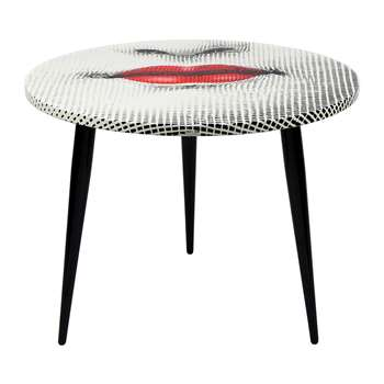 Fornasetti - Bocca Table with Wooden Base - 60cm Dia (H45 x W60 x D60cm)