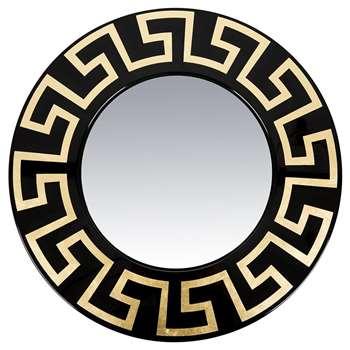Fornasetti - Greca Convex Mirror - Round - Gold/Black (Diameter 50cm)