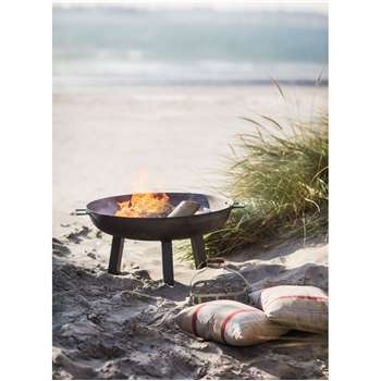 Foscot Fire Pit, Medium - Raw Metal (37 x 75cm)