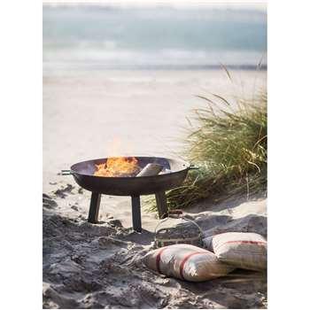 Foscot Fire Pit, Medium - Raw Metal (37 x 75cm)