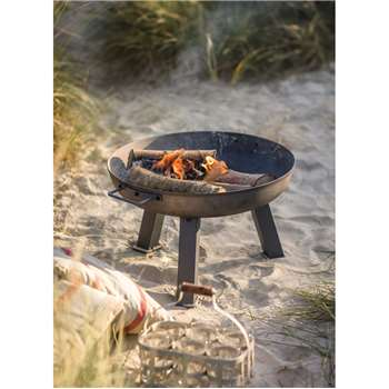 Foscot Fire Pit, Small - Raw Metal (34.5 x 55cm)