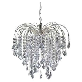 Fountain Pendant Ceiling Light Polished Chrome (H40 x W43 x D43cm)