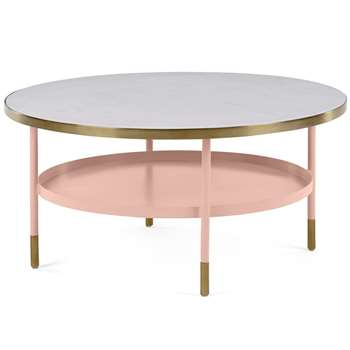 Fox Coffee table, Pink and Marble (H40 x W80 x D80cm)