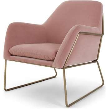 Frame Armchair, Blush Pink Cotton Velvet (H84 x W77 x D88cm)