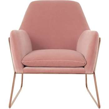 Frame Armchair, Blush Cotton Velvet with Copper Frame (H84 x W77 x D88cm)