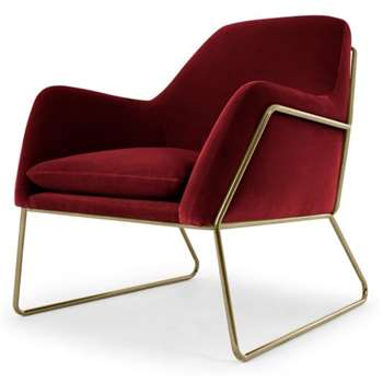 Frame Armchair, Claret Cotton Velvet with Bright Gold Frame (H84 x W77 x D88cm)