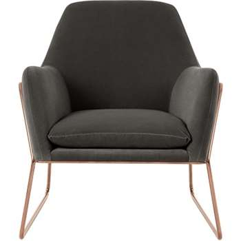Frame Armchair, Concrete Cotton Velvet with Copper Frame (H84 x W77 x D88cm)