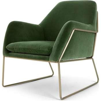 Frame Armchair, Grass Cotton Velvet (H84 x W77 x D88cm)