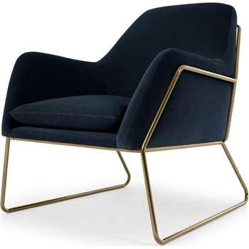 Frame Armchair, Navy Cotton Velvet (H84 x W77 x D88cm)