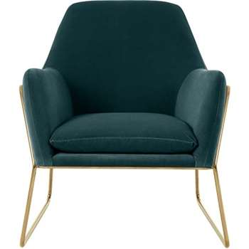Frame Armchair, Petrol Cotton Velvet with Bright Gold Frame (H84 x W77 x D88cm)