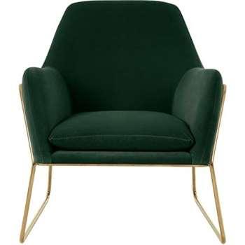 Frame Armchair, Pine Green Cotton Velvet with Bright Gold Frame (H84 x W77 x D88cm)