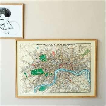 Framed Large London Map Print (H50 x W70cm)