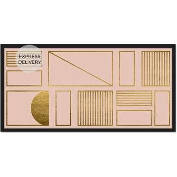 Framework Geometric Grid 50 x 100 Large Landscape Framed Wall Art Print, Blush Pink & Gold Foil (H50 x W100 x D2cm)