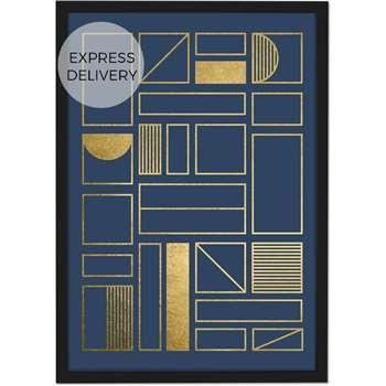 Framework Geometric Grid 50 x 70 Framed Wall Art Print, Navy Blue & Gold Foil (H73 x W53 x D3cm)