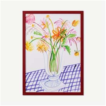 Frances Costelloe, 'Dahlias on Gingham Table' A2 Limited Edition Framed Print (H62 x W44 x D2cm)