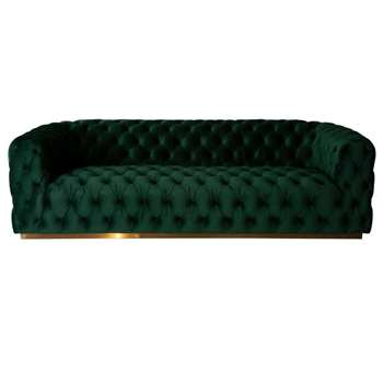 Frankfurt Three Seat Sofa – Bottle Green (H72 x W242 x D92cm)