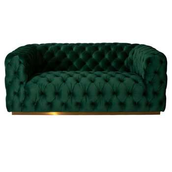 Frankfurt Two Seat Sofa – Bottle Green (H72 x W186 x D99cm)