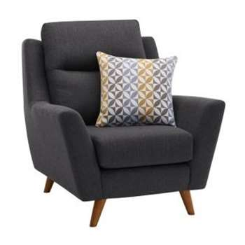 Fraser Charcoal Fabric Armchair (H102 x W96 x D97cm)