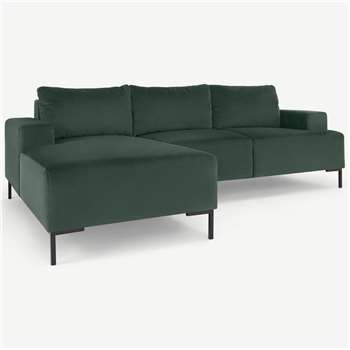 Frederik 3 Seater Left Hand Facing Compact Corner Chaise End Sofa, Autumn Green Velvet (H79 x W235 x D156cm)