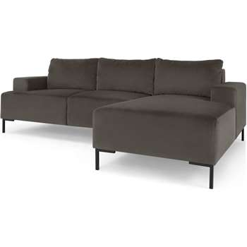 Frederik 3 Seater Right Hand Facing Compact Corner Chaise End Sofa, Otter Grey Velvet (H79 x W235cm)