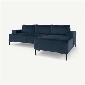 Frederik 3 Seater Right Hand Facing Compact Corner Chaise End Sofa, Sapphire Blue Velvet (H79 x W235 x D156cm)