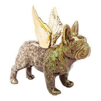 French bulldog wings figure green (21 x 11cm)