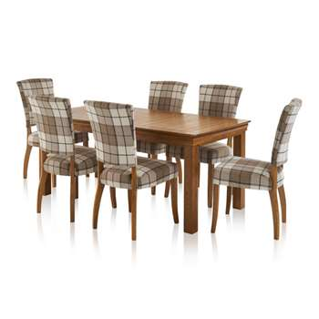 French Farmhouse Dining Set - 6ft Table with 6 Check Brown Curved Back (H76 x W180 x D90cm)