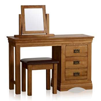 French Farmhouse Rustic Solid Oak Dressing Table Set (H77 x W120 x D43cm)