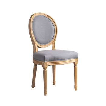 French Limed Oak Oval Back Dining Chair - Grey (H99.5 x W49.5 x D46cm)