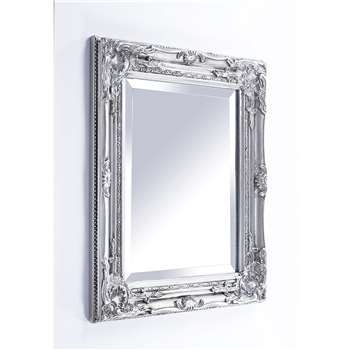French Vintage Style Wall Mirror with Bevelled Glass, Silver (53 x 43cm)