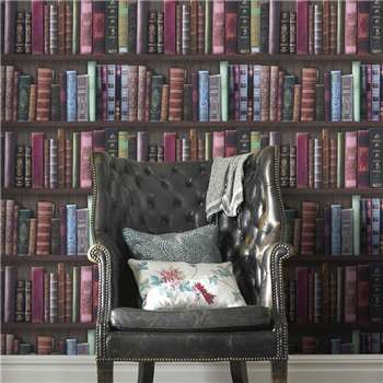Fresco Multicoloured Book Shelf Wallpaper