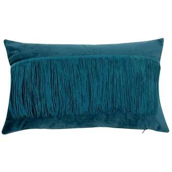 Fringed Emerald Green Cushion Cover (H30 x W50cm)