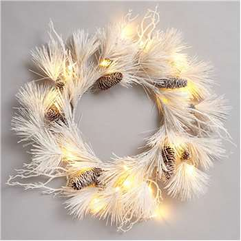 Frosted Lit Wreath, White (51 x 51cm)