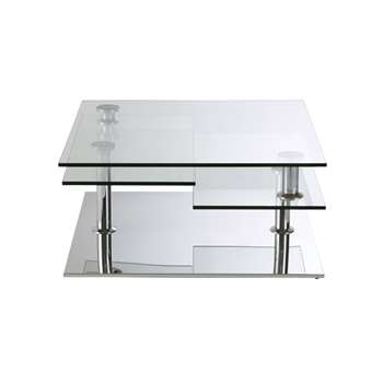 FUDJI - Steel and Glass Coffee Table with 4 Surfaces (H36 x W80 x D80cm)