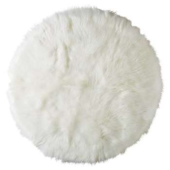 FURIL Round White Faux Fur Rug (Diameter 140cm)