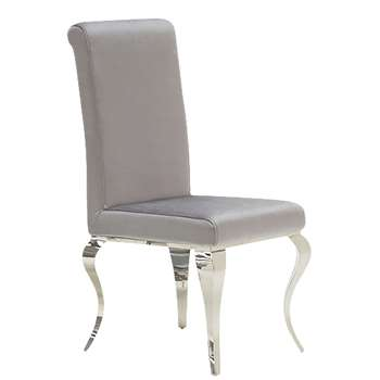 Furnoko Louis Pair of Crushed Velvet Dining Chairs - Silver at Argos (H91 x W46 x D58cm)
