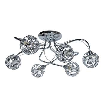 Gabor 6 Light Ceiling Light Polished Chrome (H1.8 x W52 x D52cm)