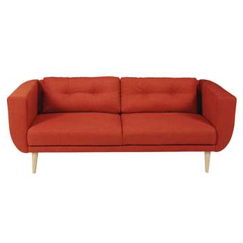 GABY Brick red 3-seater fabric sofa (75 x 194cm)