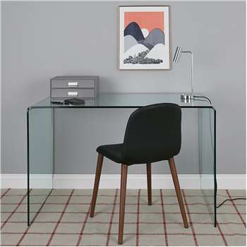Gala Bent Clear Tempered Glass Desk And Black Leather Chair (H75 x W120 x D48cm)