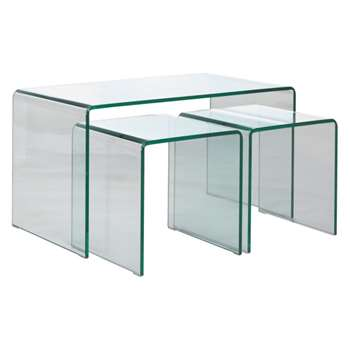 Gala Glass nested coffee and side tables (Width 86cm)