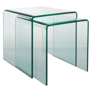 Gala Set of 2 glass nested side tables (Width 42cm)